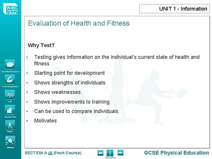 UNIT 1 - Information Evaluation of Health and Fitness Why Test? Information/Discussion Practical Application