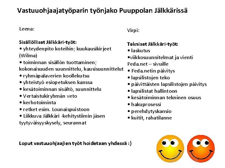 Vastuuohjaajatyöparin työnjako Puuppolan Jälkkärissä Leena: Virpi: Sisällölliset Jälkkäri-työt: • yhteydenpito koteihin; kuukausikirjeet (Wilma) •