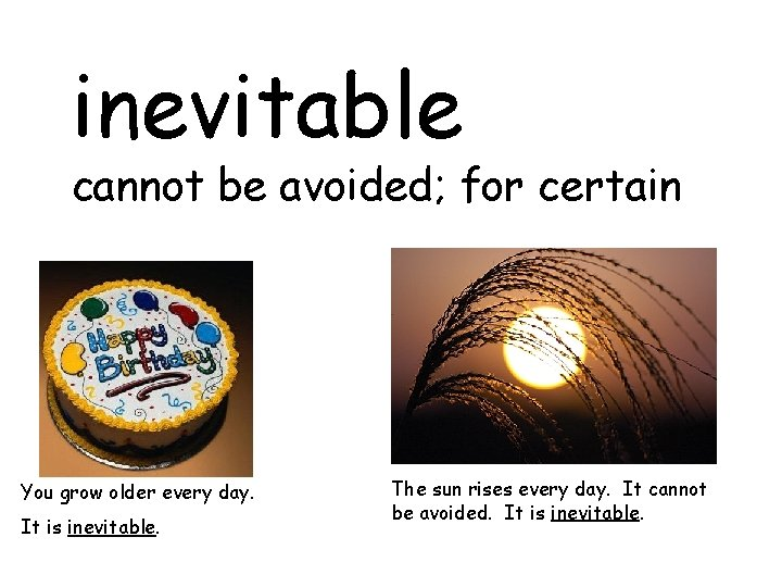inevitable cannot be avoided; for certain You grow older every day. It is inevitable.