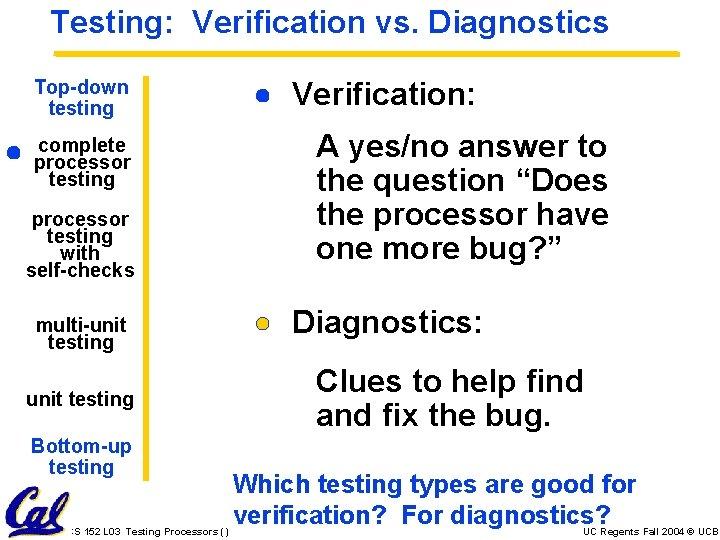 Testing: Verification vs. Diagnostics Top-down testing complete processor testing with self-checks multi-unit testing Bottom-up