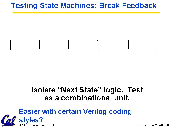 """Testing State Machines: Break Feedback Isolate """"Next State"""" logic. Test as a combinational unit."""