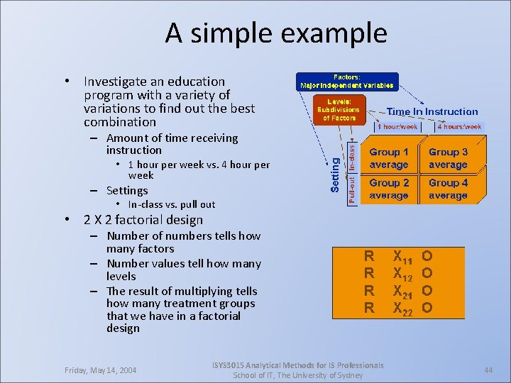 A simple example • Investigate an education program with a variety of variations to