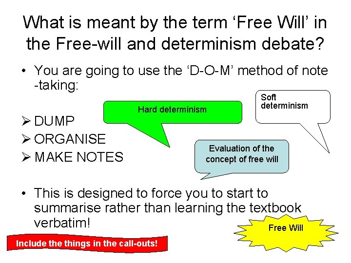 What is meant by the term 'Free Will' in the Free-will and determinism debate?