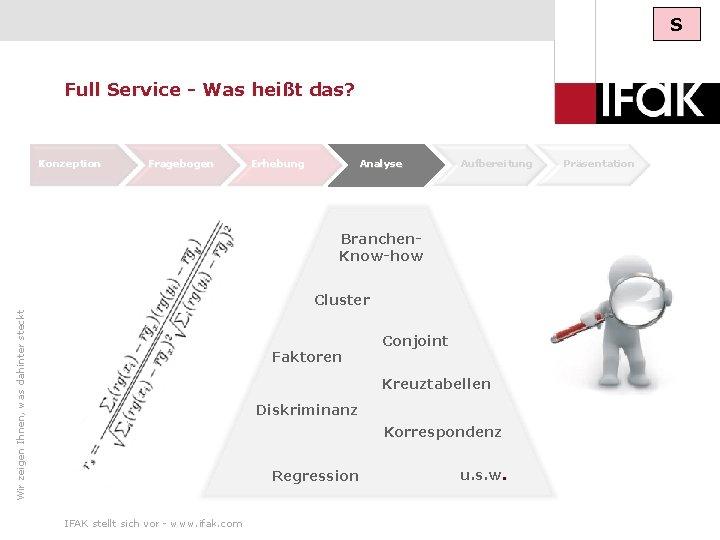 S Full Service - Was heißt das? Konzeption Fragebogen Erhebung Analyse Aufbereitung Präsentation Branchen.