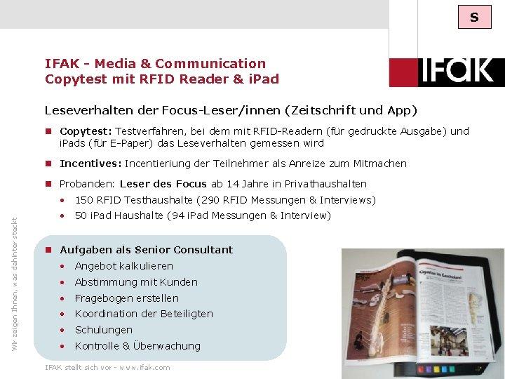 S IFAK - Media & Communication Copytest mit RFID Reader & i. Pad Leseverhalten