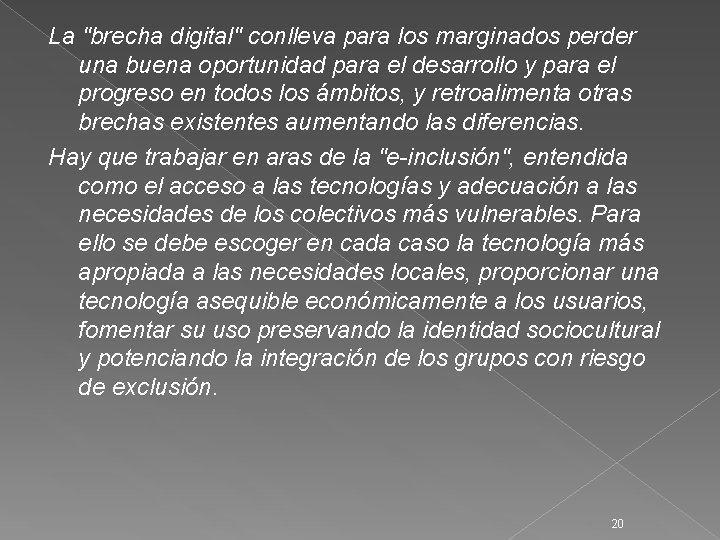 """La """"brecha digital"""" conlleva para los marginados perder una buena oportunidad para el desarrollo"""