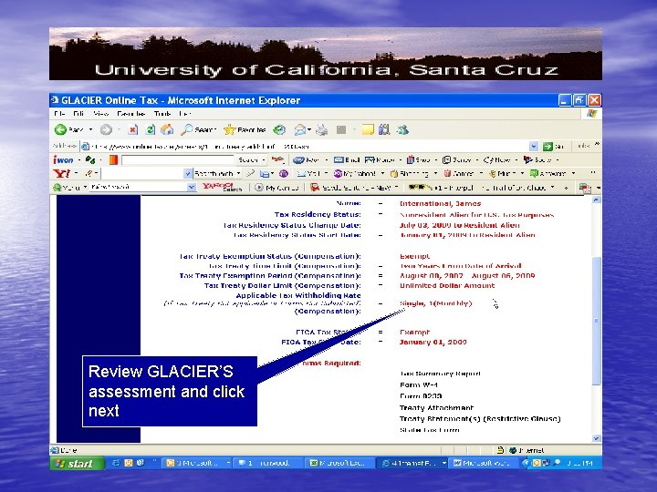 Review GLACIER'S assessment and click next