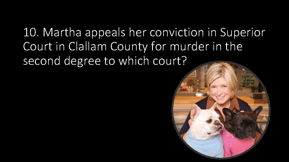 10. Martha appeals her conviction in Superior Court in Clallam County for murder in