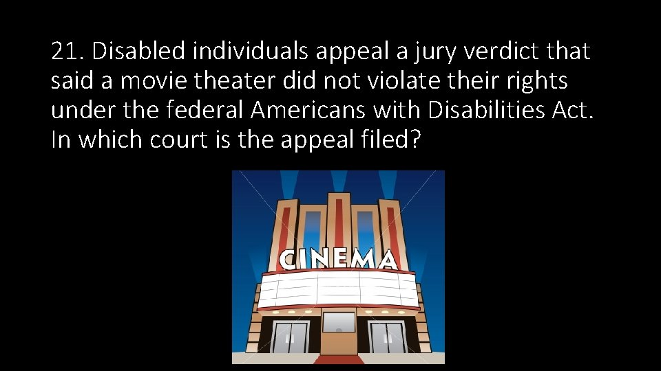 21. Disabled individuals appeal a jury verdict that said a movie theater did not