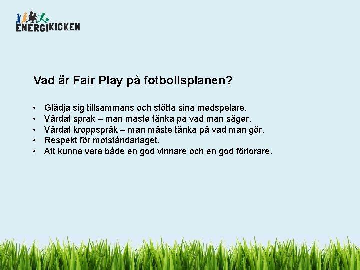 Vad är Fair Play på fotbollsplanen? • • • Glädja sig tillsammans och stötta