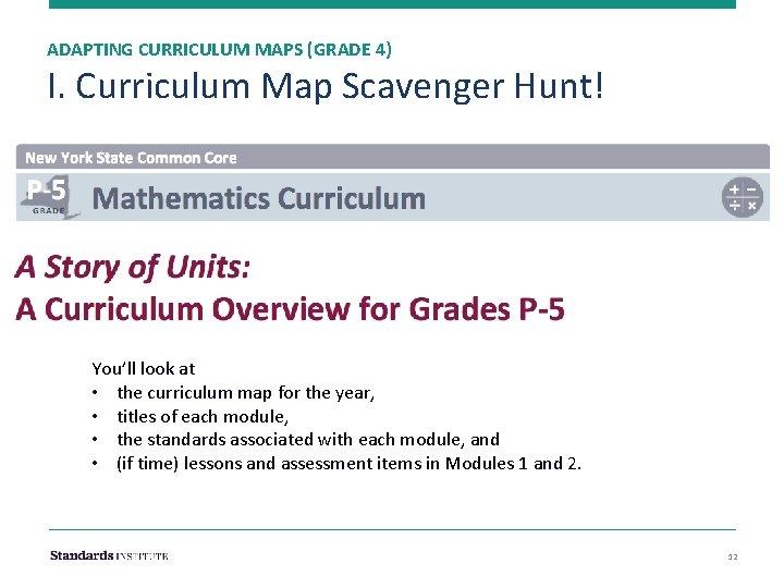 ADAPTING CURRICULUM MAPS (GRADE 4) I. Curriculum Map Scavenger Hunt! You'll look at •