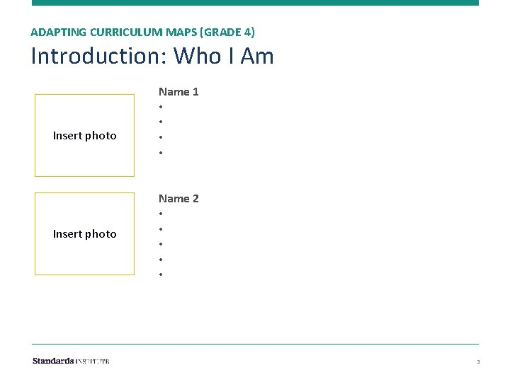 ADAPTING CURRICULUM MAPS (GRADE 4) Introduction: Who I Am Insert photo Name 1 •