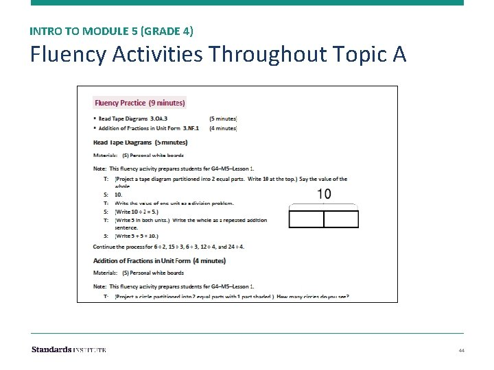 INTRO TO MODULE 5 (GRADE 4) Fluency Activities Throughout Topic A 44