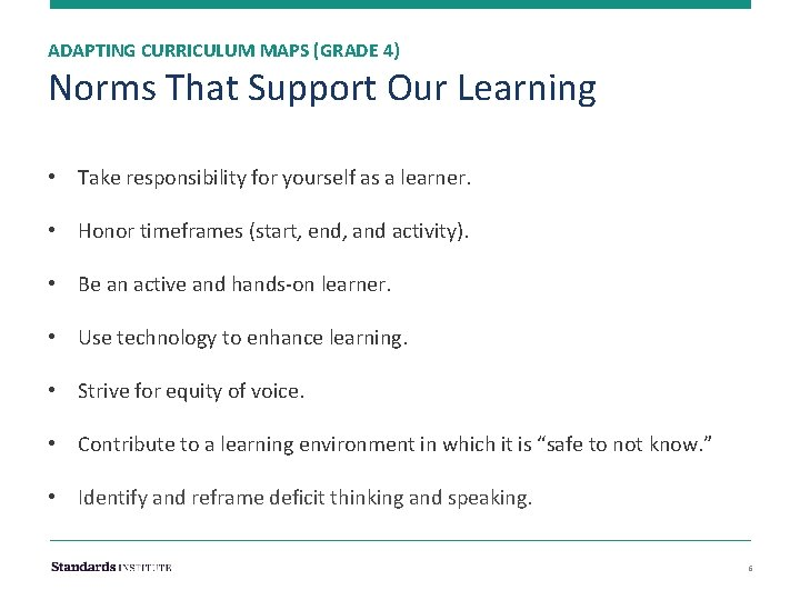 ADAPTING CURRICULUM MAPS (GRADE 4) Norms That Support Our Learning • Take responsibility for