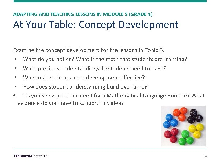 ADAPTING AND TEACHING LESSONS IN MODULE 5 (GRADE 4) At Your Table: Concept Development