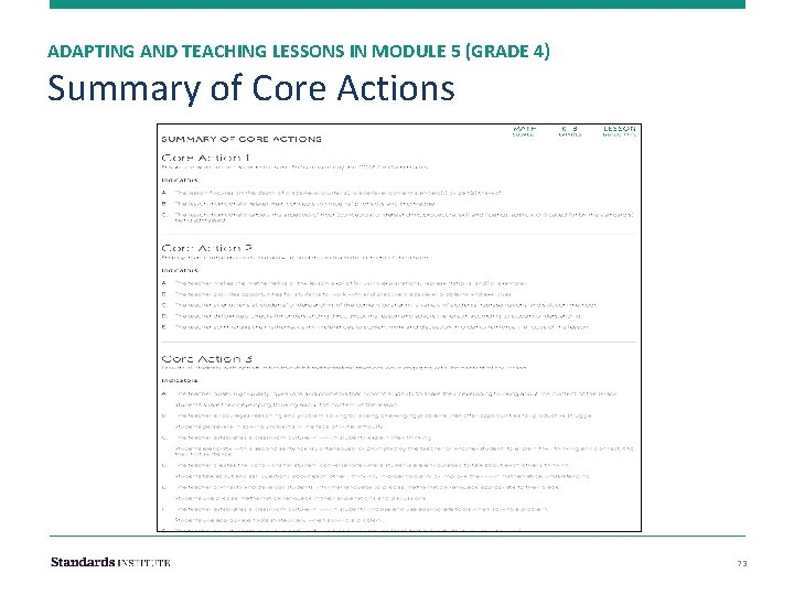 ADAPTING AND TEACHING LESSONS IN MODULE 5 (GRADE 4) Summary of Core Actions 73
