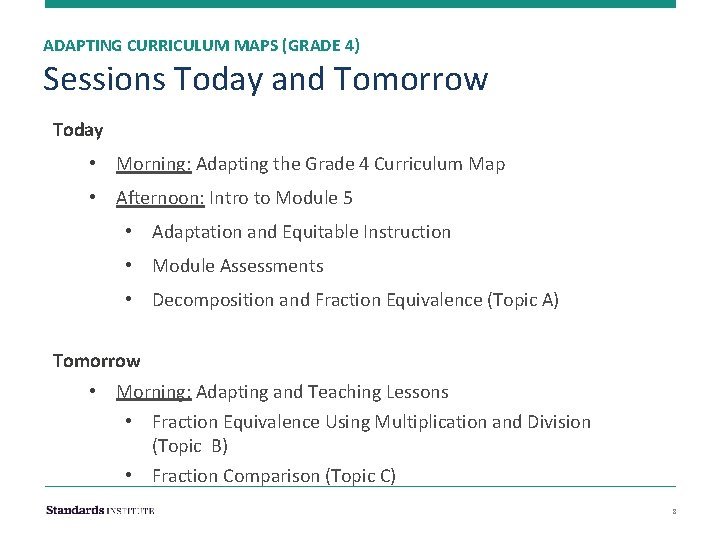 ADAPTING CURRICULUM MAPS (GRADE 4) Sessions Today and Tomorrow Today • Morning: Adapting the