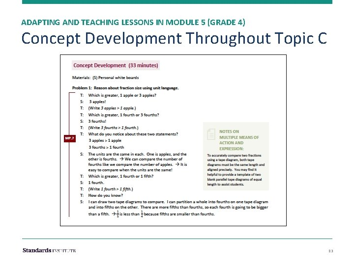 ADAPTING AND TEACHING LESSONS IN MODULE 5 (GRADE 4) Concept Development Throughout Topic C