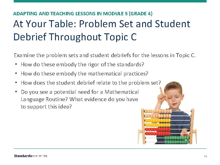 ADAPTING AND TEACHING LESSONS IN MODULE 5 (GRADE 4) At Your Table: Problem Set
