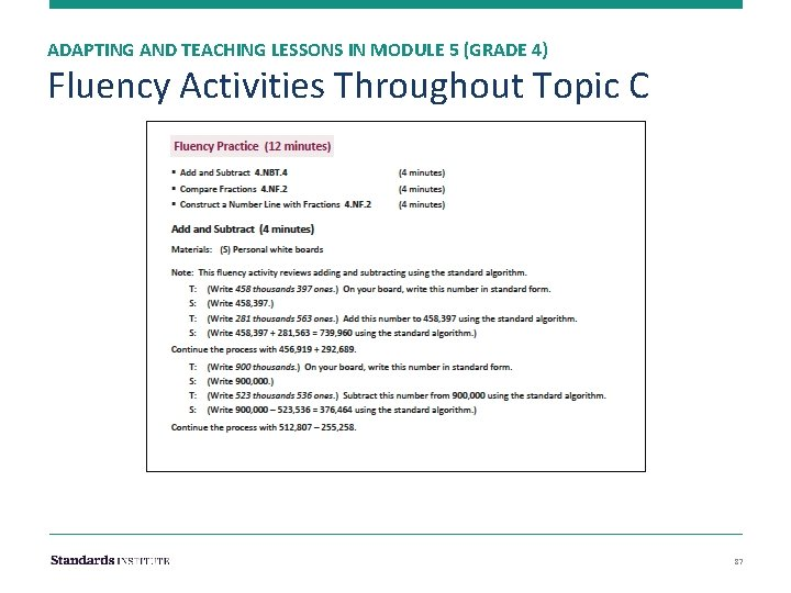 ADAPTING AND TEACHING LESSONS IN MODULE 5 (GRADE 4) Fluency Activities Throughout Topic C