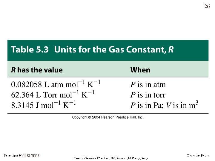 26 Prentice Hall © 2005 General Chemistry 4 th edition, Hill, Petrucci, Mc. Creary,