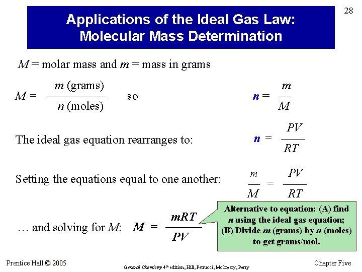 Applications of the Ideal Gas Law: Molecular Mass Determination 28 M = molar mass
