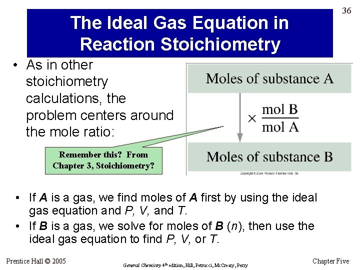 36 The Ideal Gas Equation in Reaction Stoichiometry • As in other stoichiometry calculations,