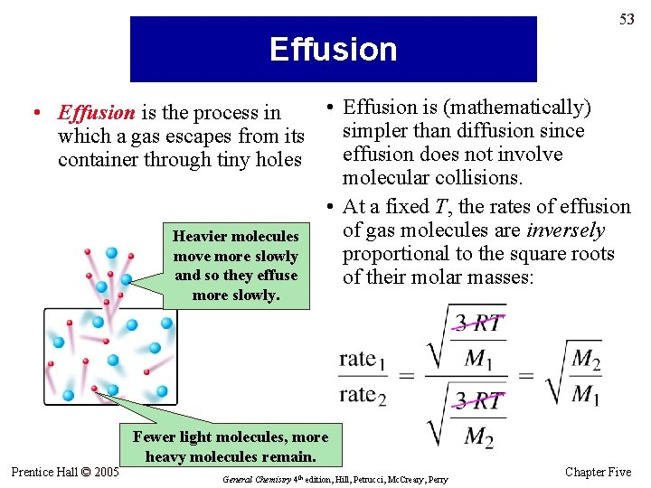 53 Effusion • Effusion is (mathematically) • Effusion is the process in simpler than