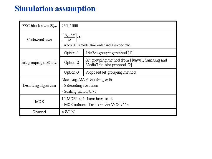 Simulation assumption FEC block sizes NEP 960, 1000 Codeword size Bit grouping methods Decoding