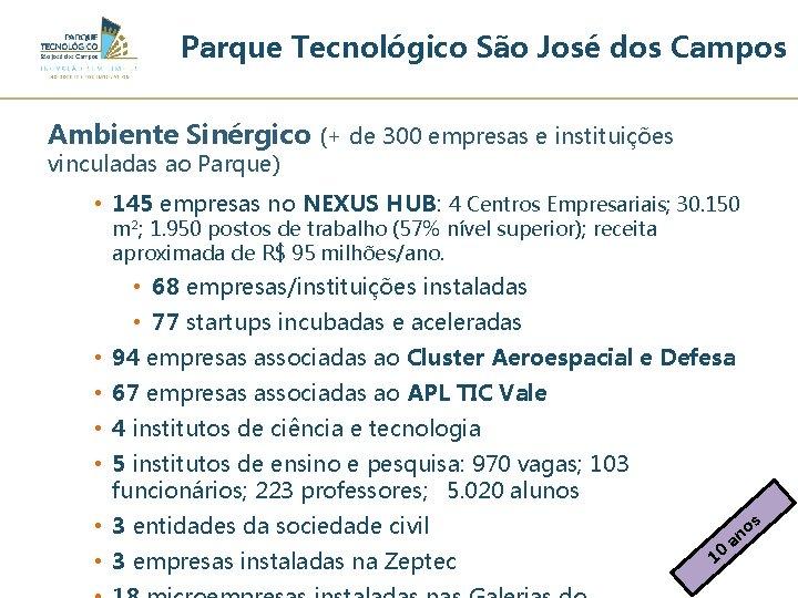 Parque Tecnológico São José dos Campos Ambiente Sinérgico (+ de 300 empresas e instituições
