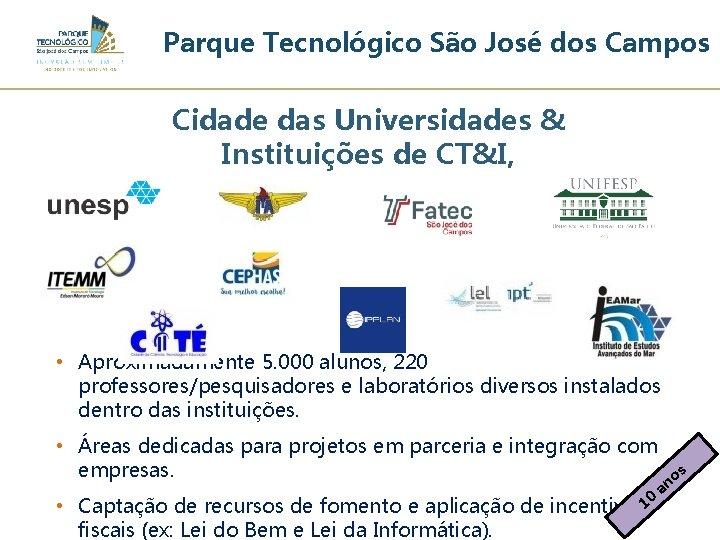 Parque Tecnológico São José dos Campos Cidade das Universidades & Instituições de CT&I, •