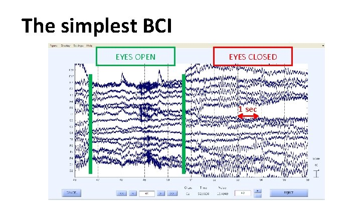 The simplest BCI EYES OPEN EYES CLOSED 1 sec