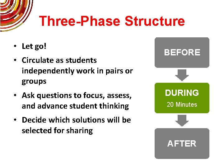 Three-Phase Structure • Let go! • Circulate as students independently work in pairs or