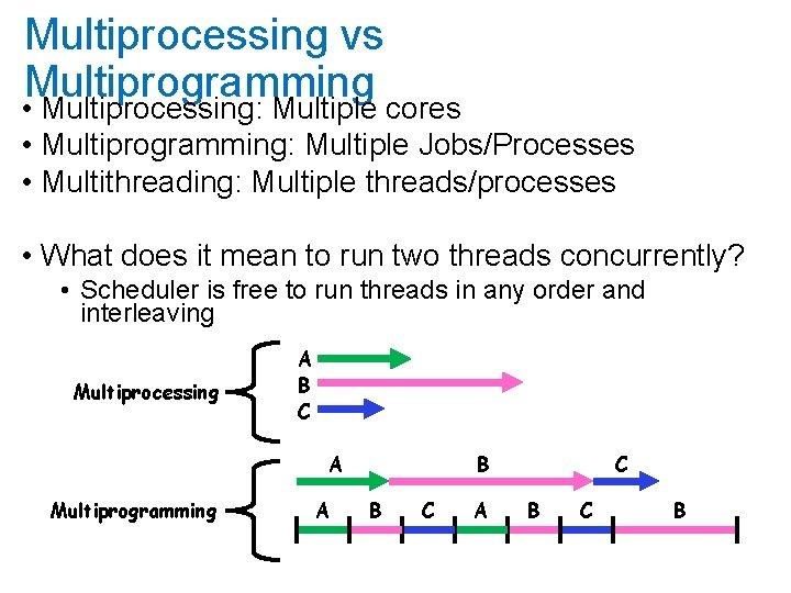 Multiprocessing vs Multiprogramming • Multiprocessing: Multiple cores • Multiprogramming: Multiple Jobs/Processes • Multithreading: Multiple