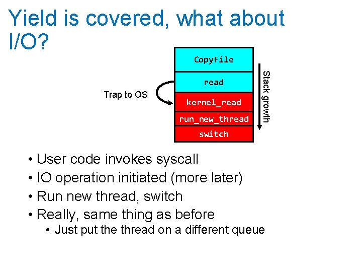 Yield is covered, what about I/O? Copy. File Trap to OS kernel_read run_new_thread Stack