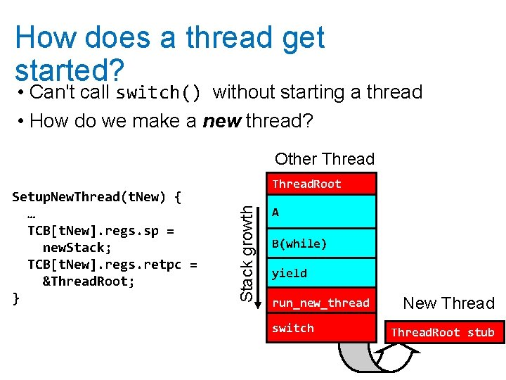 How does a thread get started? • Can't call switch() without starting a thread