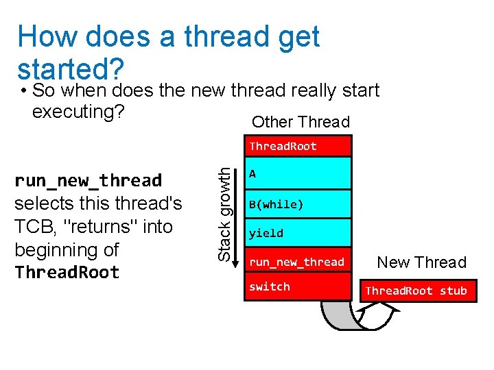 How does a thread get started? • So when does the new thread really