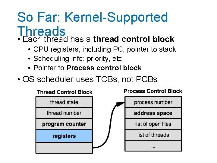 So Far: Kernel-Supported Threads • Each thread has a thread control block • CPU
