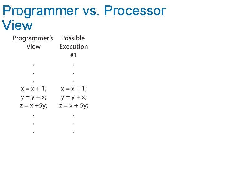 Programmer vs. Processor View