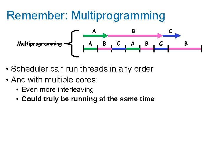 Remember: Multiprogramming A B B C A C B • Scheduler can run threads