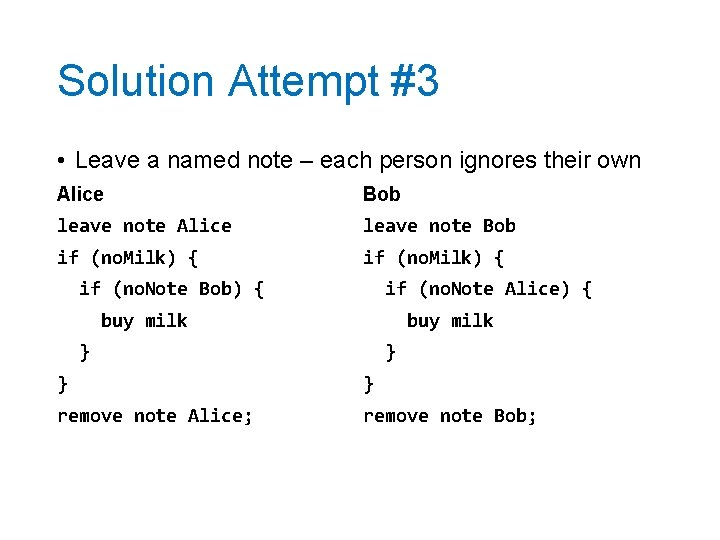 Solution Attempt #3 • Leave a named note – each person ignores their own