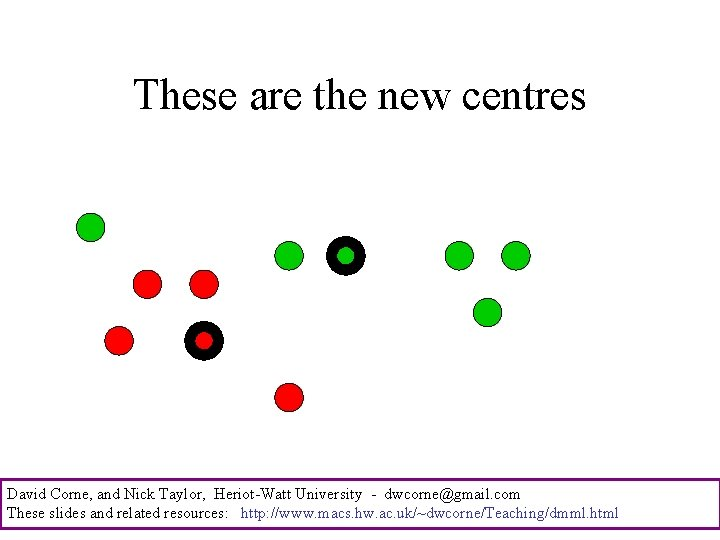 These are the new centres David Corne, and Nick Taylor, Heriot-Watt University - dwcorne@gmail.