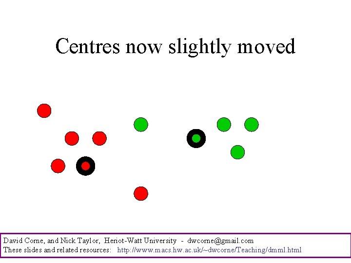 Centres now slightly moved David Corne, and Nick Taylor, Heriot-Watt University - dwcorne@gmail. com