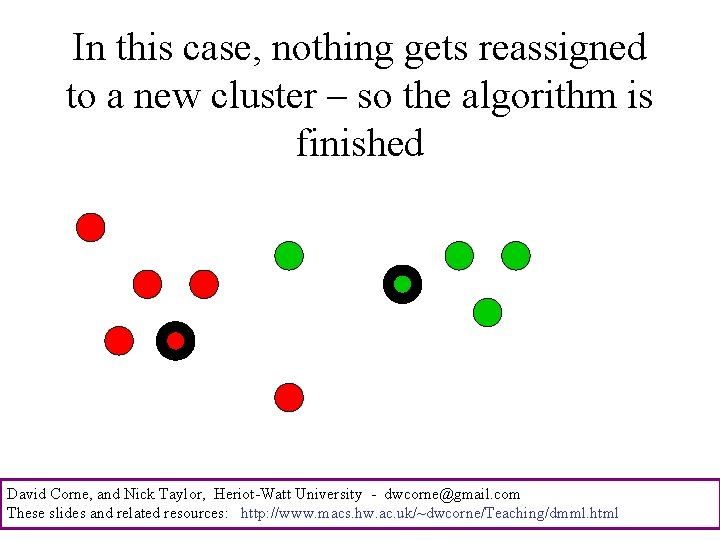 In this case, nothing gets reassigned to a new cluster – so the algorithm