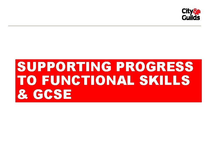SUPPORTING PROGRESS TO FUNCTIONAL SKILLS & GCSE