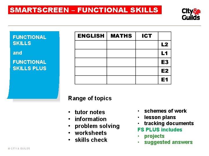 SMARTSCREEN – FUNCTIONAL SKILLS and FUNCTIONAL SKILLS PLUS Range of topics • • •