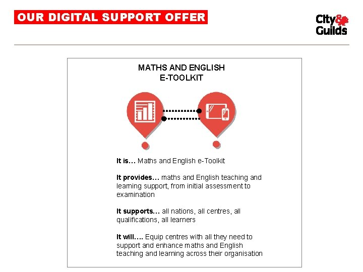 OUR DIGITAL SUPPORT OFFER MATHS AND ENGLISH E-TOOLKIT It is… Maths and English e-Toolkit