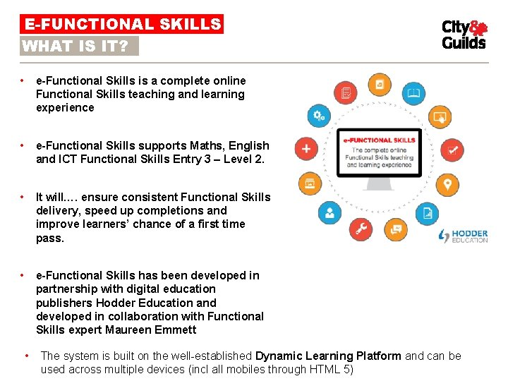 E-FUNCTIONAL SKILLS WHAT IS IT? • e-Functional Skills is a complete online Functional Skills
