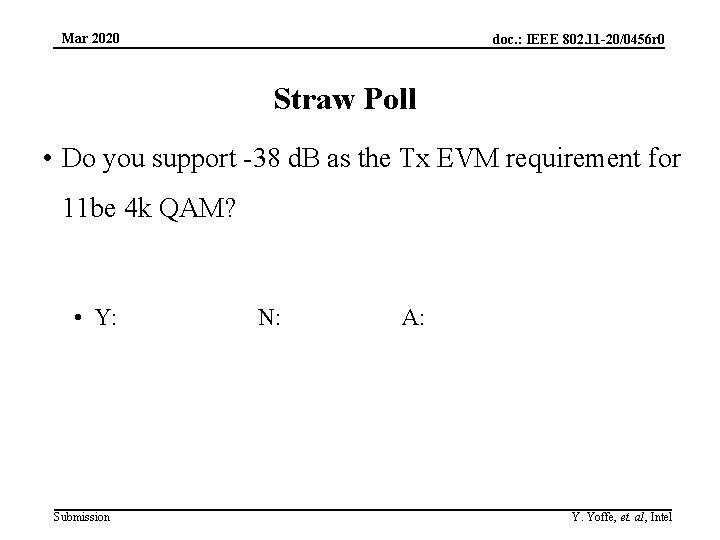Mar 2020 doc. : IEEE 802. 11 -20/0456 r 0 Straw Poll • Do