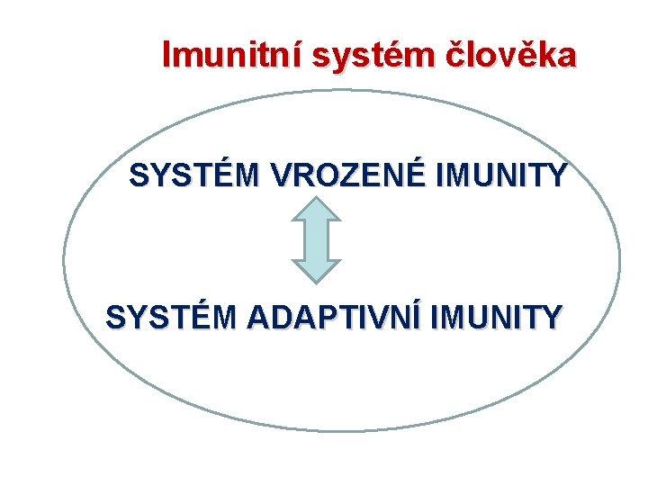 Imunitní systém člověka SYSTÉM VROZENÉ IMUNITY SYSTÉM ADAPTIVNÍ IMUNITY